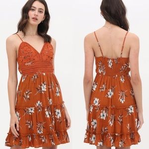 New Rust Lace Floral Print Tiered Tank Dress